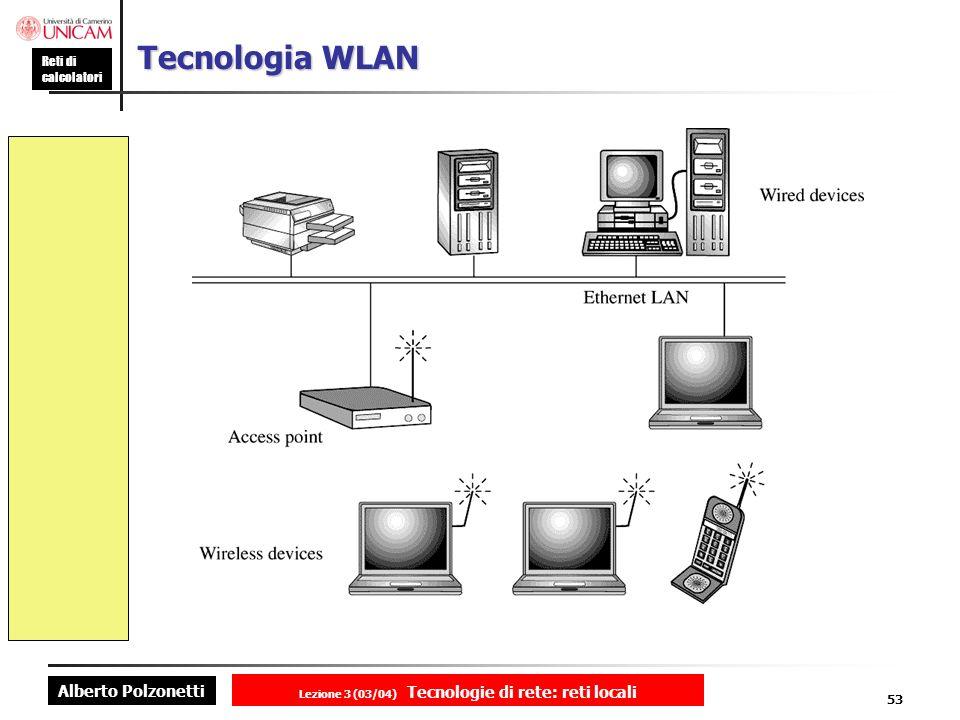 Alberto Polzonetti Reti di calcolatori Lezione 3 (03/04) Tecnologie di rete: reti locali 53 Tecnologia WLAN
