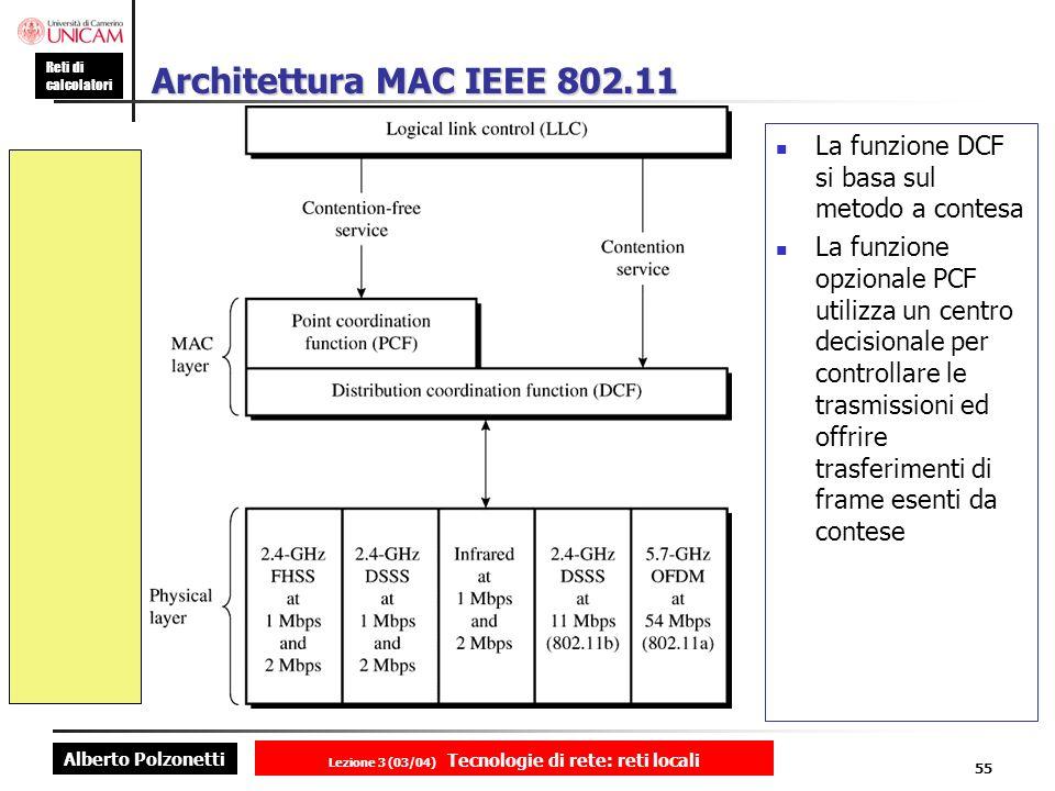 Alberto Polzonetti Reti di calcolatori Lezione 3 (03/04) Tecnologie di rete: reti locali 55 Architettura MAC IEEE 802.11 La funzione DCF si basa sul m