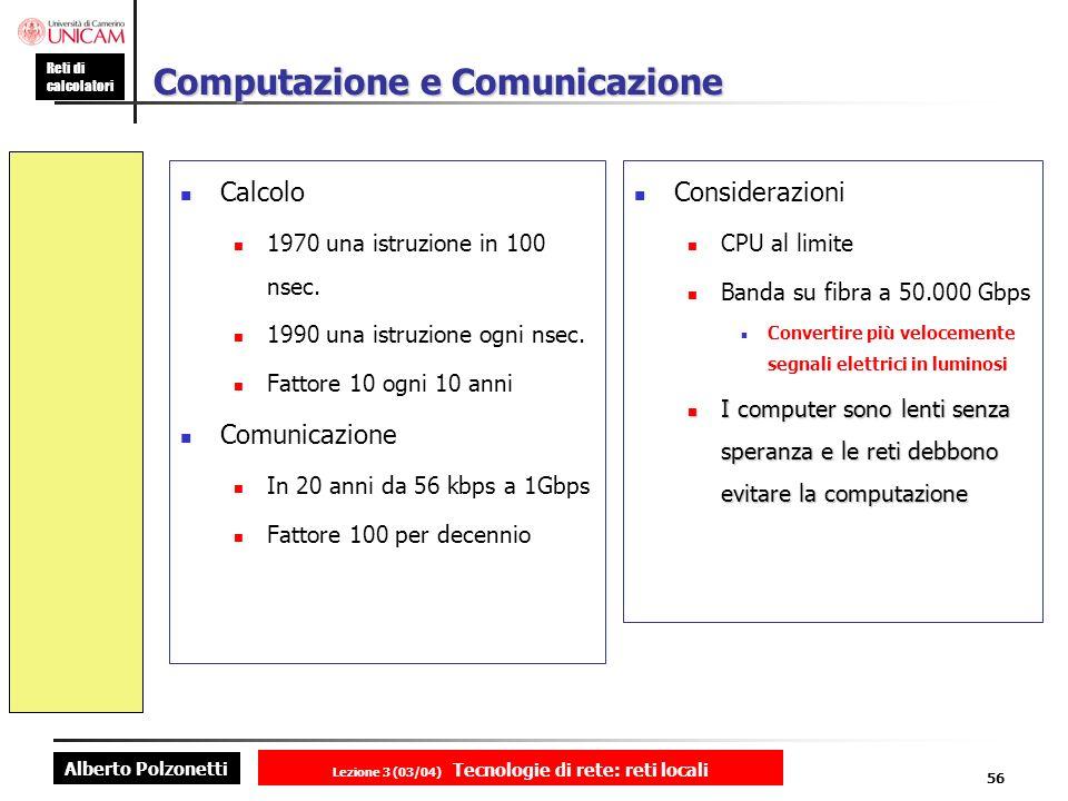 Alberto Polzonetti Reti di calcolatori Lezione 3 (03/04) Tecnologie di rete: reti locali 56 Computazione e Comunicazione Calcolo 1970 una istruzione i