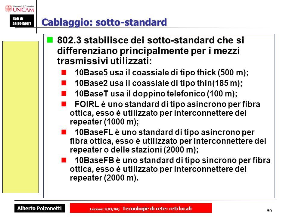 Alberto Polzonetti Reti di calcolatori Lezione 3 (03/04) Tecnologie di rete: reti locali 59 Cablaggio: sotto-standard 802.3 stabilisce dei sotto-stand