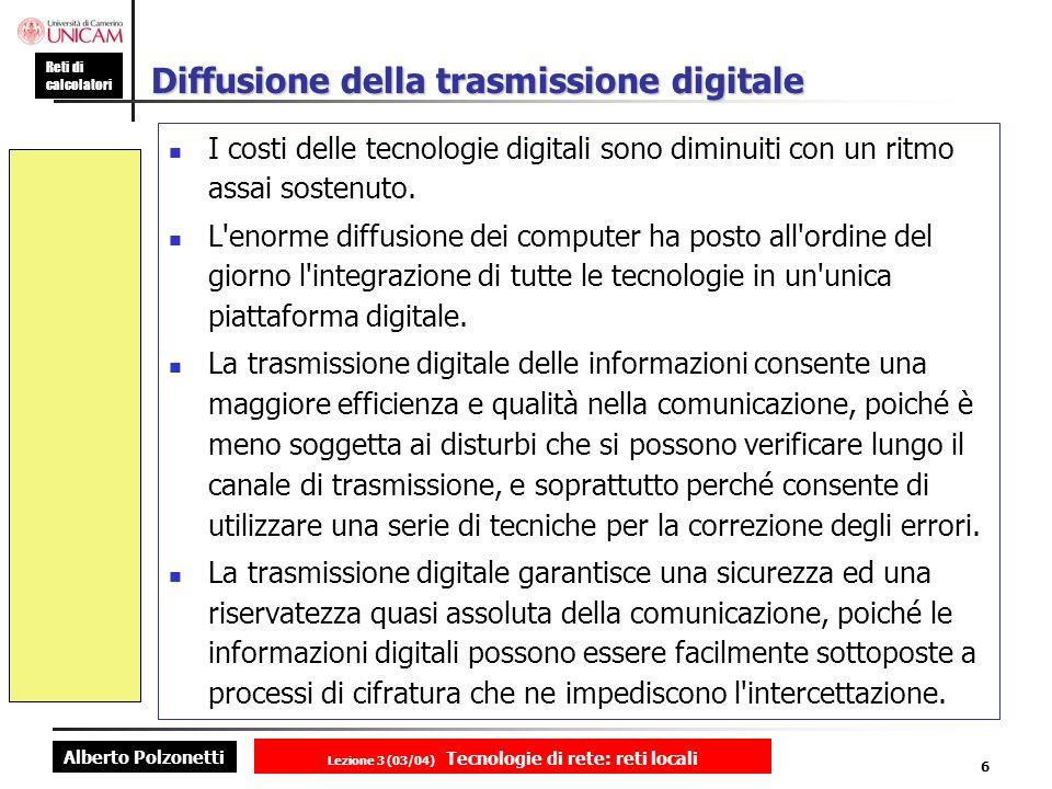 Alberto Polzonetti Reti di calcolatori Lezione 3 (03/04) Tecnologie di rete: reti locali 6 Diffusione della trasmissione digitale I costi delle tecnol