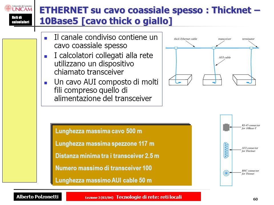 Alberto Polzonetti Reti di calcolatori Lezione 3 (03/04) Tecnologie di rete: reti locali 60 ETHERNET su cavo coassiale spesso : Thicknet – 10Base5 [ca