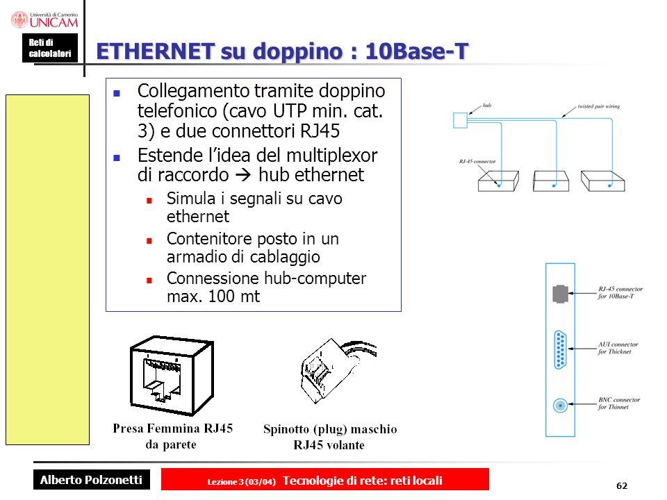 Alberto Polzonetti Reti di calcolatori Lezione 3 (03/04) Tecnologie di rete: reti locali 62 ETHERNET su doppino : 10Base-T Collegamento tramite doppin