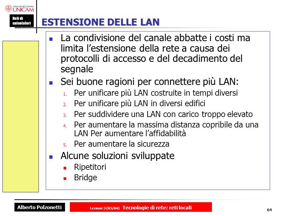 Alberto Polzonetti Reti di calcolatori Lezione 3 (03/04) Tecnologie di rete: reti locali 64 ESTENSIONE DELLE LAN La condivisione del canale abbatte i