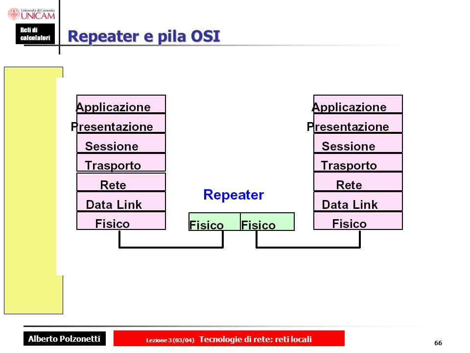 Alberto Polzonetti Reti di calcolatori Lezione 3 (03/04) Tecnologie di rete: reti locali 66 Repeater e pila OSI