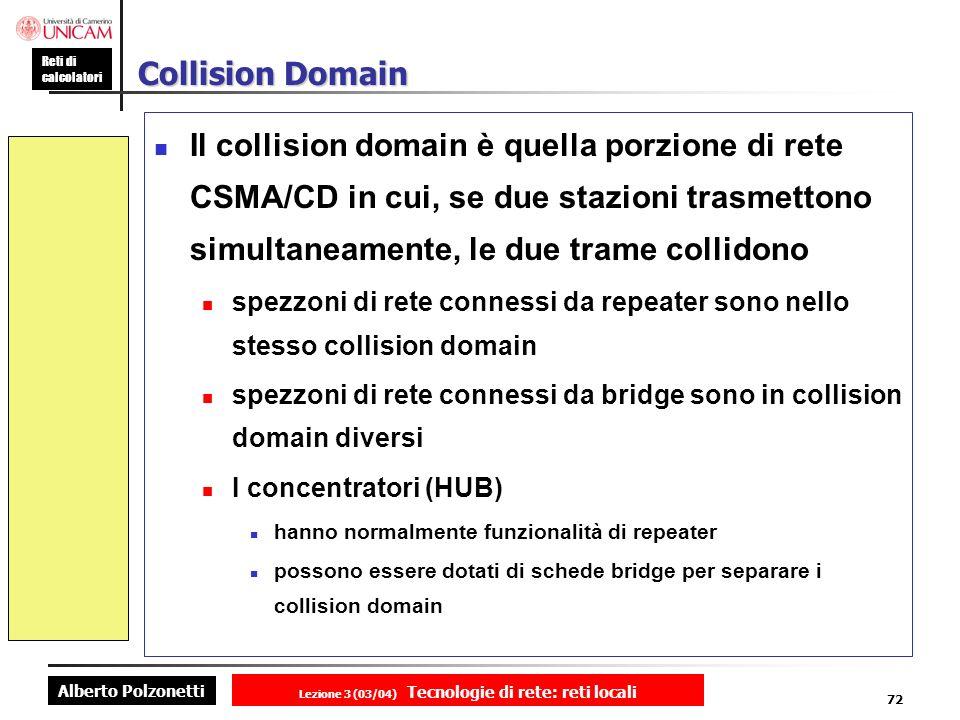Alberto Polzonetti Reti di calcolatori Lezione 3 (03/04) Tecnologie di rete: reti locali 72 Collision Domain Il collision domain è quella porzione di