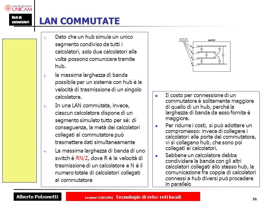 Alberto Polzonetti Reti di calcolatori Lezione 3 (03/04) Tecnologie di rete: reti locali 76 LAN COMMUTATE 1. Dato che un hub simula un unico segmento