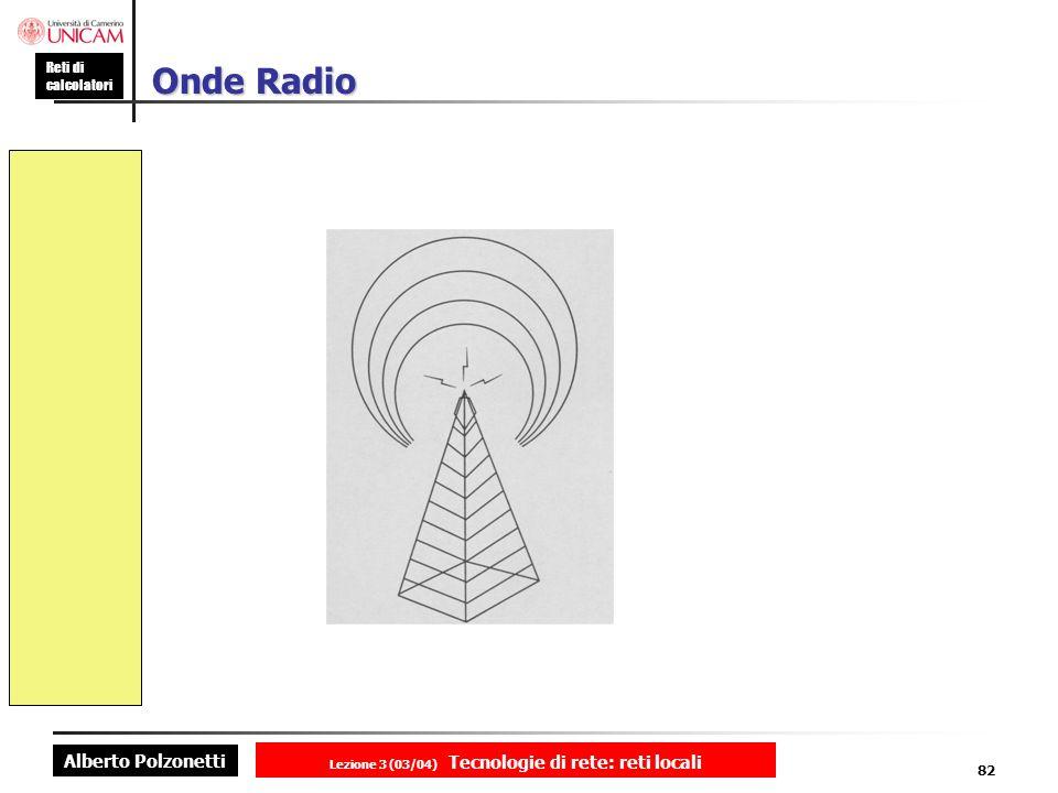 Alberto Polzonetti Reti di calcolatori Lezione 3 (03/04) Tecnologie di rete: reti locali 82 Onde Radio