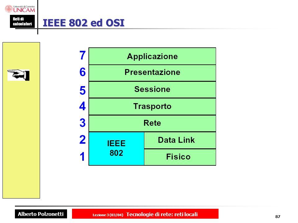 Alberto Polzonetti Reti di calcolatori Lezione 3 (03/04) Tecnologie di rete: reti locali 87 IEEE 802 ed OSI