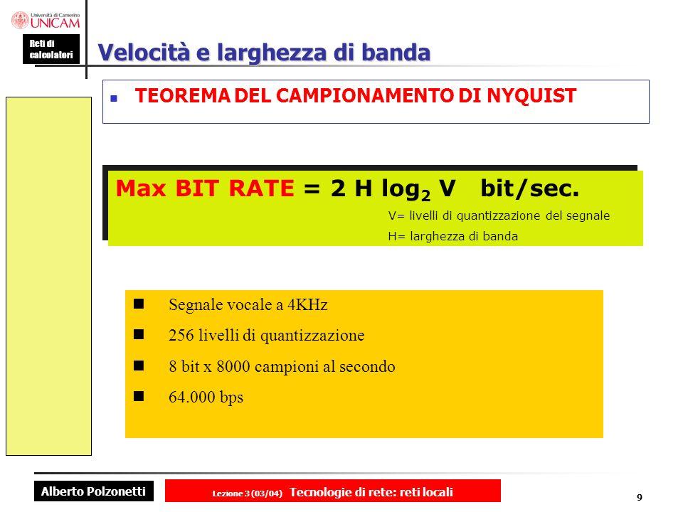 Alberto Polzonetti Reti di calcolatori Lezione 3 (03/04) Tecnologie di rete: reti locali 9 Velocità e larghezza di banda TEOREMA DEL CAMPIONAMENTO DI