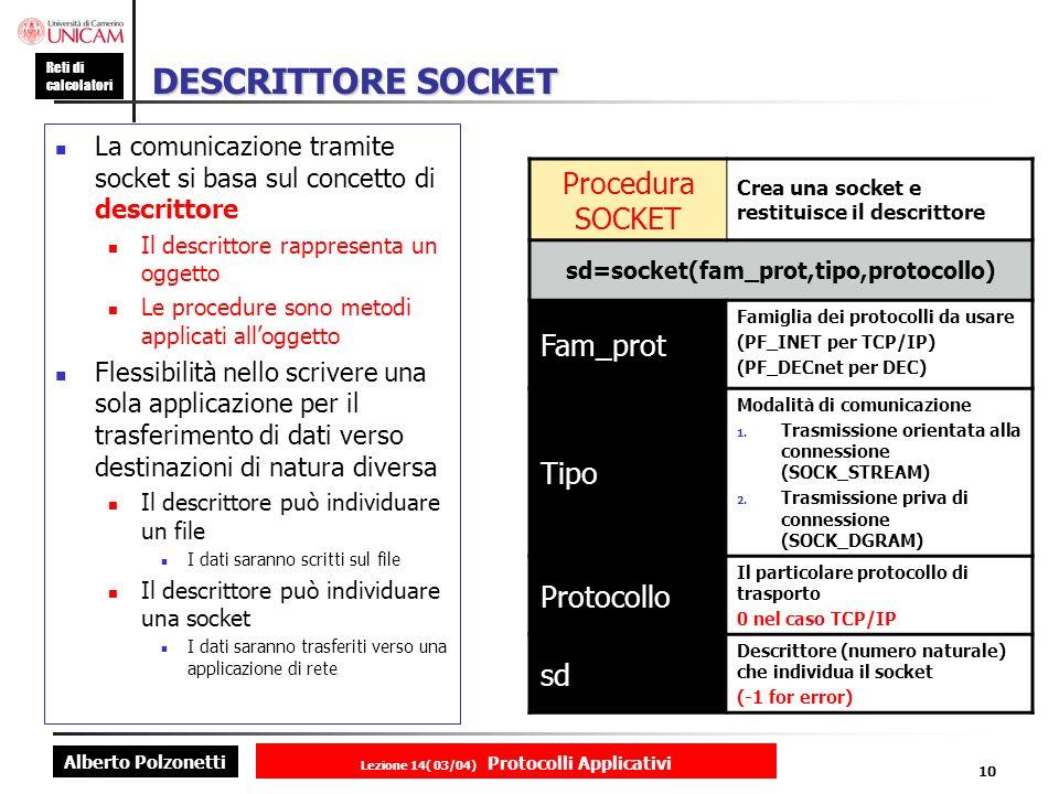 Alberto Polzonetti Reti di calcolatori Lezione 14( 03/04) Protocolli Applicativi 9 Interfaccia socket 1.