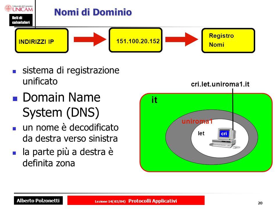 Alberto Polzonetti Reti di calcolatori Lezione 14( 03/04) Protocolli Applicativi 19 DHCP:funzionamento Fase 1 : DHCPDISCOVER Il client cerca di acquisire un indirizzo IP Inviato in broadcast Include il MAC address Fase 2 : DHCPOFFER Inviato da qualsiasi server DHCP che riceve la richiesta discover Offerta indirizzo IP e tempo di leasing Il server congela lindirizzo IP offerto Fase 3 : DHCPREQUEST Il client sceglie le offerte ricevute e ne invia uno al server FASE 4 : DHCPACK Conferma da parte del server Creazione della corrispondenza tra MAC ed IP Rinnovi di licenza Ogni volta che un client DHCP si riavvia Al 50% del tempo