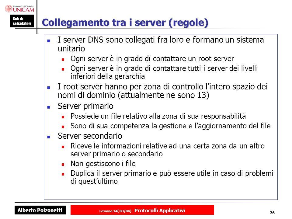 Alberto Polzonetti Reti di calcolatori Lezione 14( 03/04) Protocolli Applicativi 25 Modello client-server DNS: gerarchia com bar sport caffè gelato panna nocciolacioccolato com bar sport caffè gelato panna nocciolacioccolato Root server Server di barsport.com Server di gelato.
