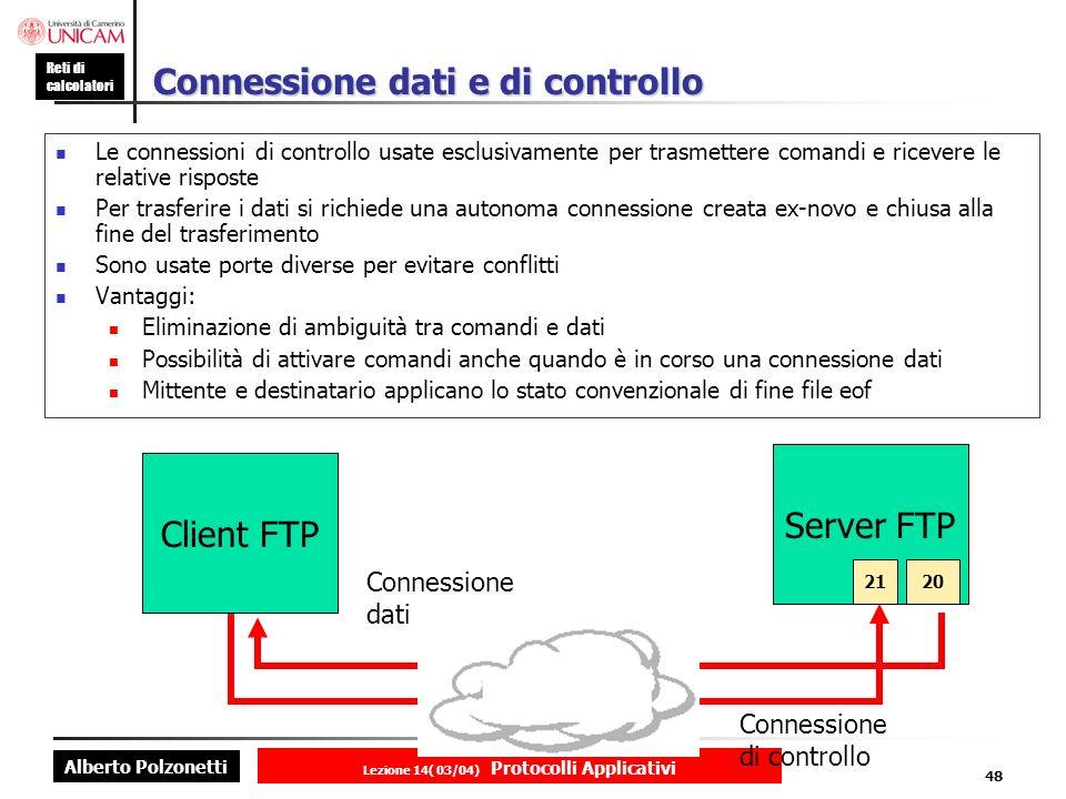 Alberto Polzonetti Reti di calcolatori Lezione 14( 03/04) Protocolli Applicativi 47 Esempio di utilizzo