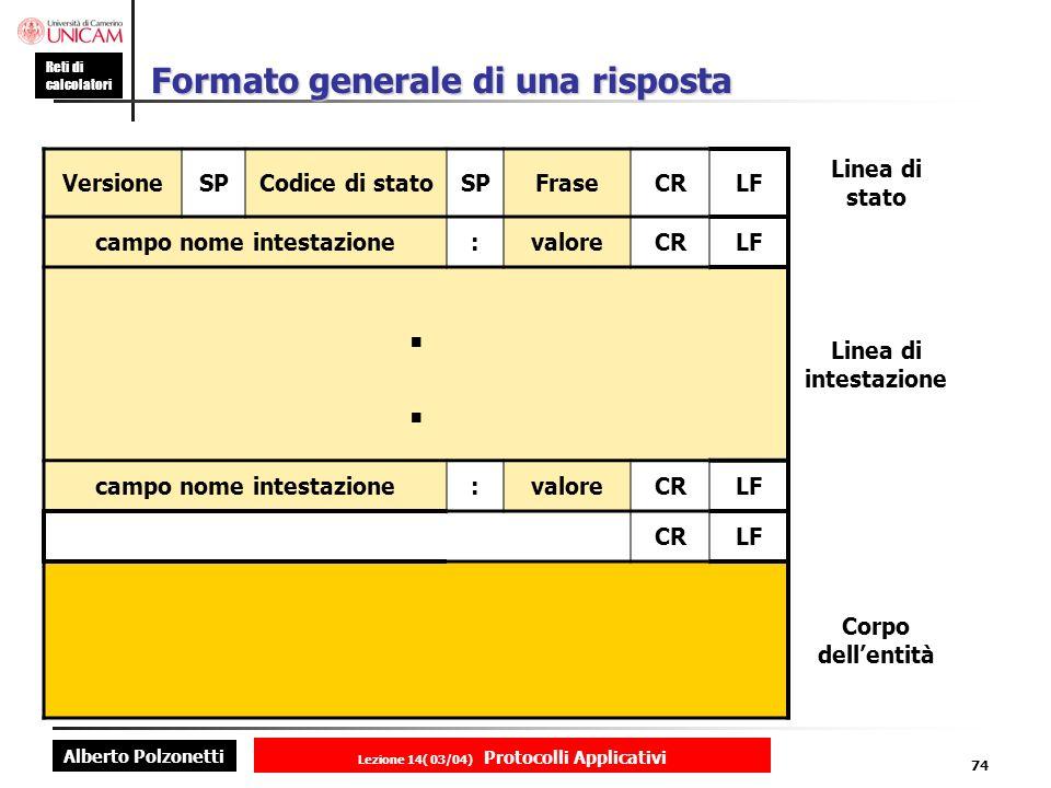 Alberto Polzonetti Reti di calcolatori Lezione 14( 03/04) Protocolli Applicativi 73 Esempio di una richiesta GETSP Somedir/page.