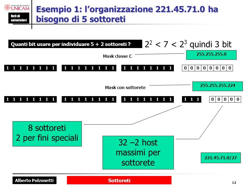 Alberto Polzonetti Reti di calcolatori Sottoreti 12 Esempio 1: lorganizzazione 221.45.71.0 ha bisogno di 5 sottoreti Quanti bit usare per individuare 5 + 2 sottoreti .