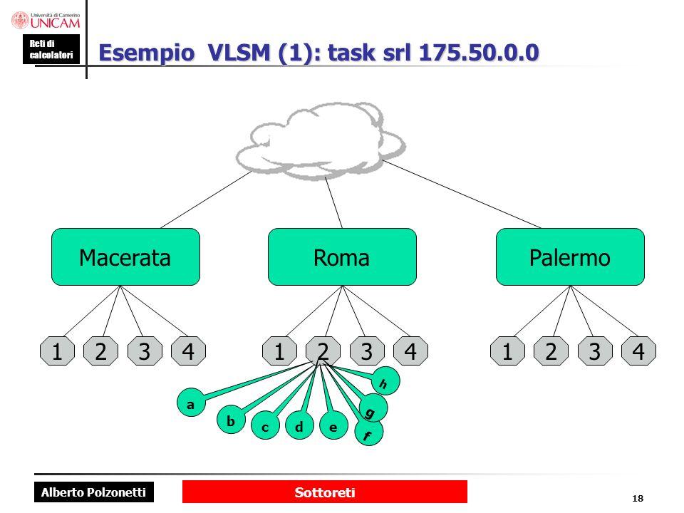 Alberto Polzonetti Reti di calcolatori Sottoreti 18 Esempio VLSM (1): task srl 175.50.0.0 MacerataRomaPalermo 123412341234 b c d e f g h a