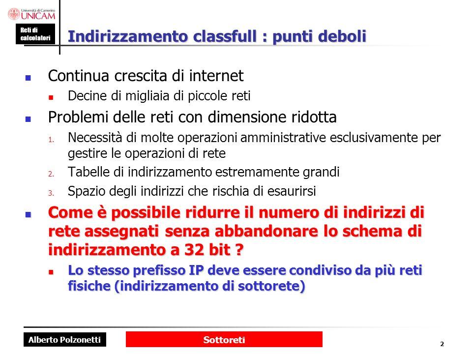 Alberto Polzonetti Reti di calcolatori Sottoreti 2 Indirizzamento classfull : punti deboli Continua crescita di internet Decine di migliaia di piccole reti Problemi delle reti con dimensione ridotta 1.
