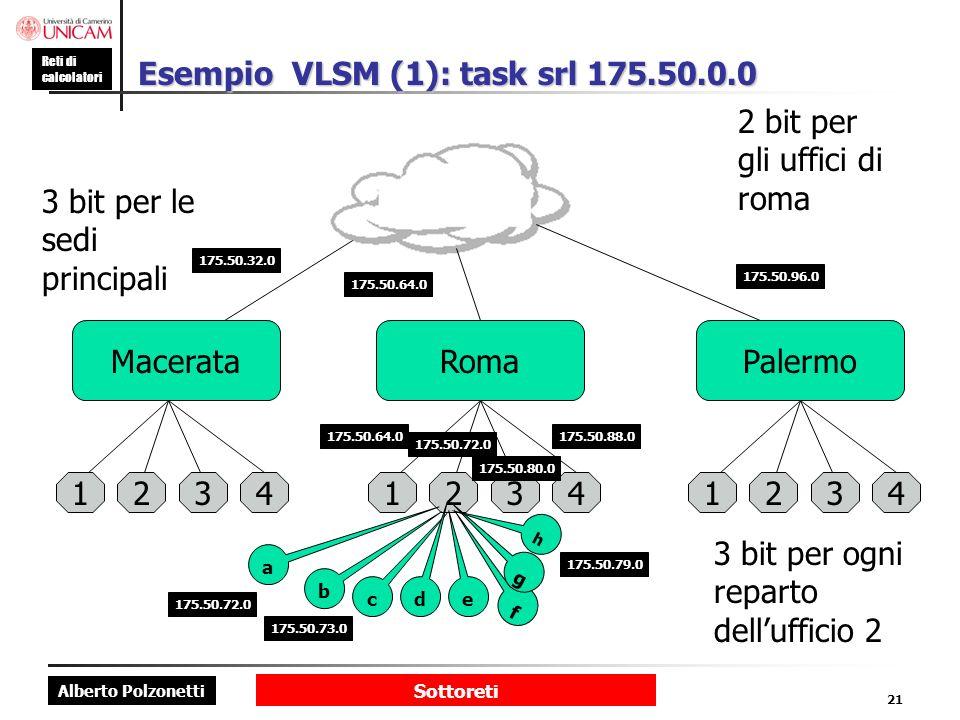 Alberto Polzonetti Reti di calcolatori Sottoreti 21 Esempio VLSM (1): task srl 175.50.0.0 MacerataRomaPalermo 123412341234 b c d e f g h a 3 bit per le sedi principali 175.50.32.0 175.50.64.0 175.50.96.0 2 bit per gli uffici di roma 175.50.64.0 175.50.72.0 175.50.80.0 175.50.88.0 3 bit per ogni reparto dellufficio 2 175.50.72.0 175.50.73.0 175.50.79.0
