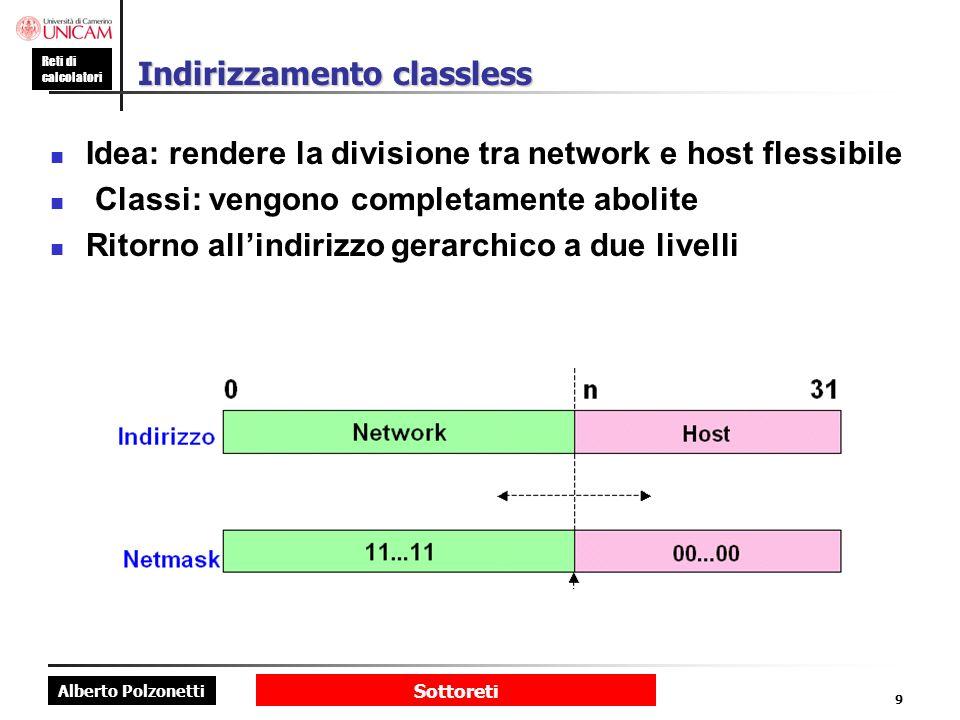 Alberto Polzonetti Reti di calcolatori Sottoreti 10 Netmask: valori