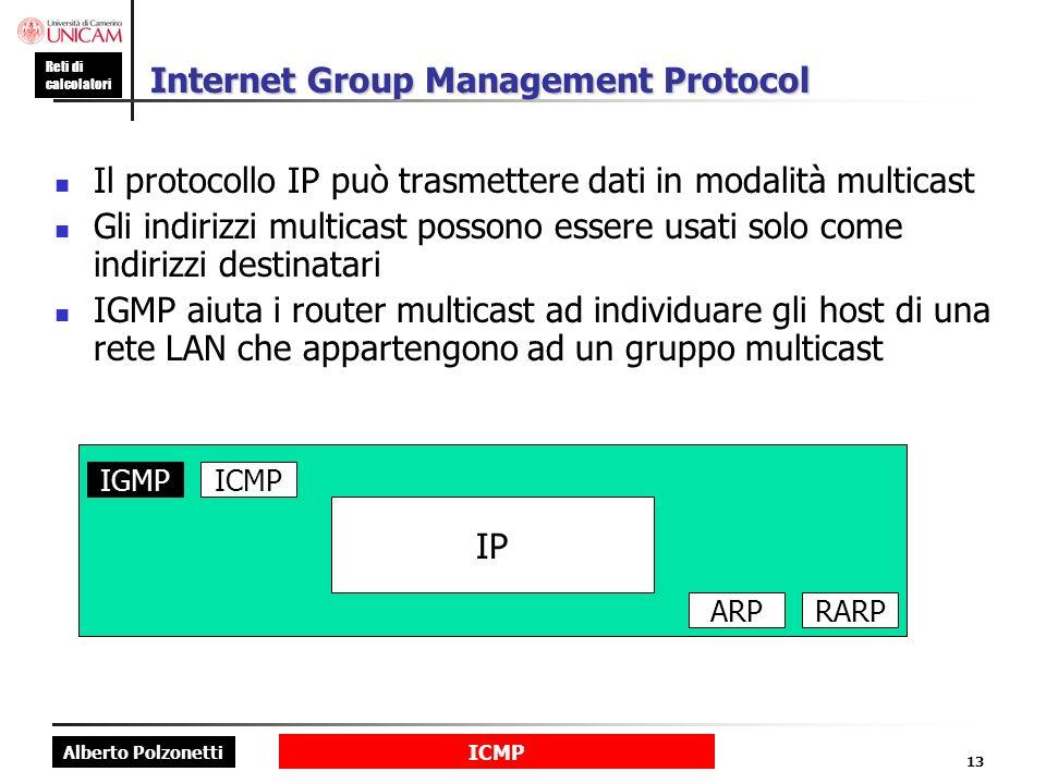 Alberto Polzonetti Reti di calcolatori ICMP 13 Internet Group Management Protocol Il protocollo IP può trasmettere dati in modalità multicast Gli indirizzi multicast possono essere usati solo come indirizzi destinatari IGMP aiuta i router multicast ad individuare gli host di una rete LAN che appartengono ad un gruppo multicast IP IGMPICMP ARPRARP