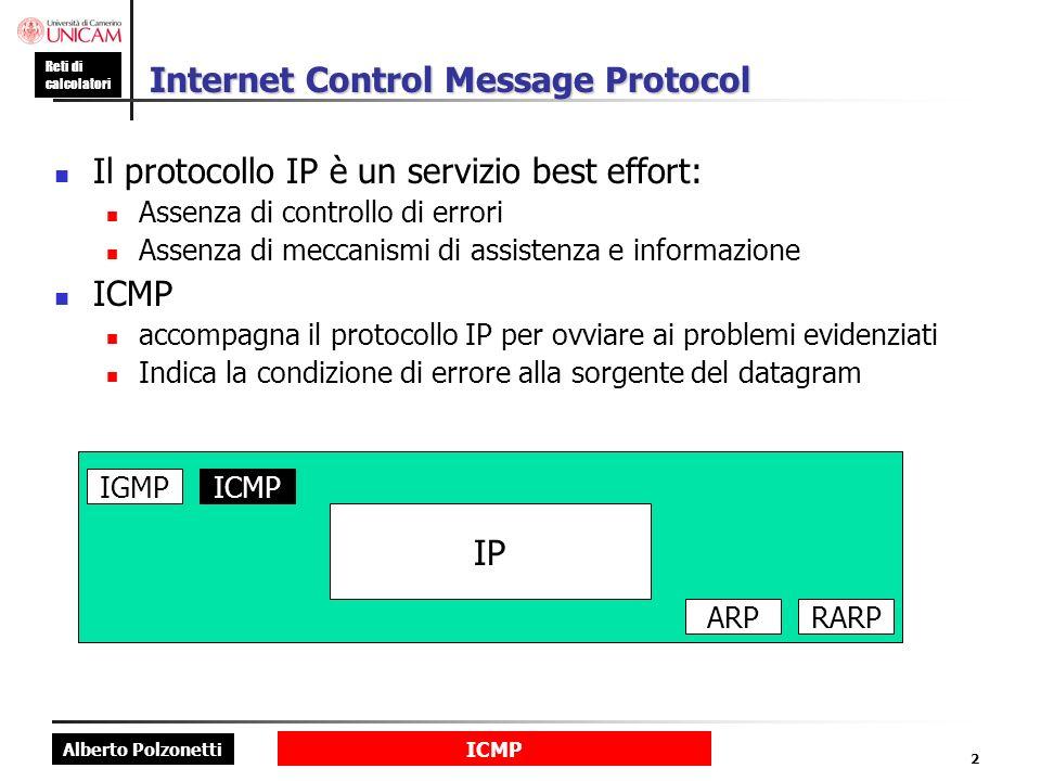 Alberto Polzonetti Reti di calcolatori ICMP 2 Internet Control Message Protocol Il protocollo IP è un servizio best effort: Assenza di controllo di errori Assenza di meccanismi di assistenza e informazione ICMP accompagna il protocollo IP per ovviare ai problemi evidenziati Indica la condizione di errore alla sorgente del datagram IP IGMPICMP ARPRARP