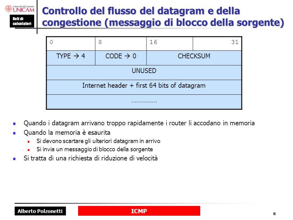 Alberto Polzonetti Reti di calcolatori ICMP 9 ICMP: messaggi di richiesta