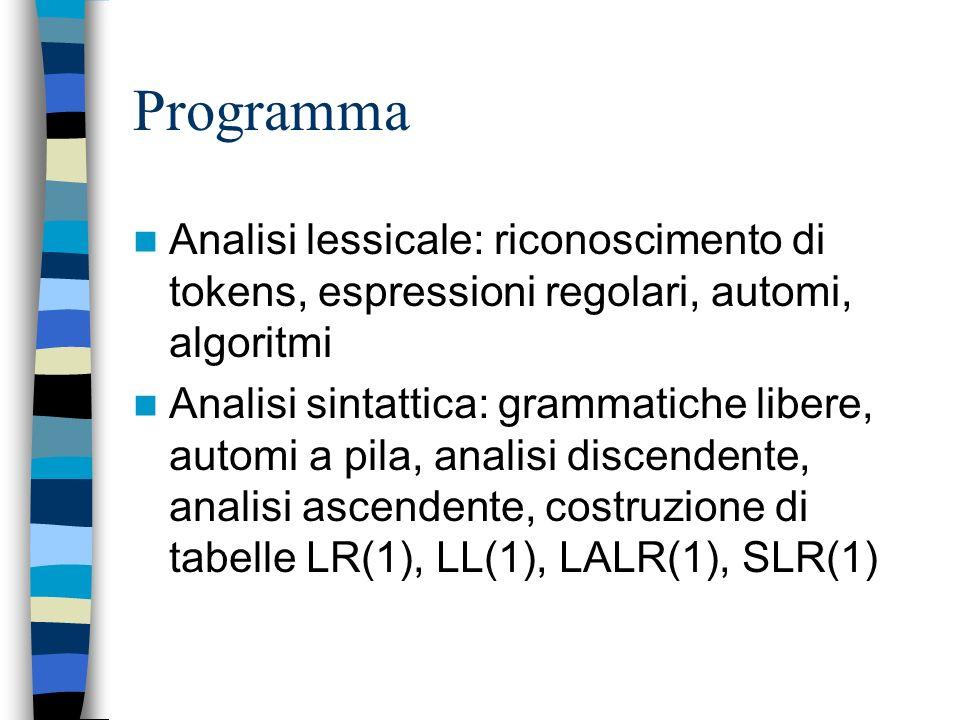 Programma Introduzione: linguaggi di programmazione, paradigmi, storia. Macchine astratte: definizione, implementazione, compilazione, interpretazione