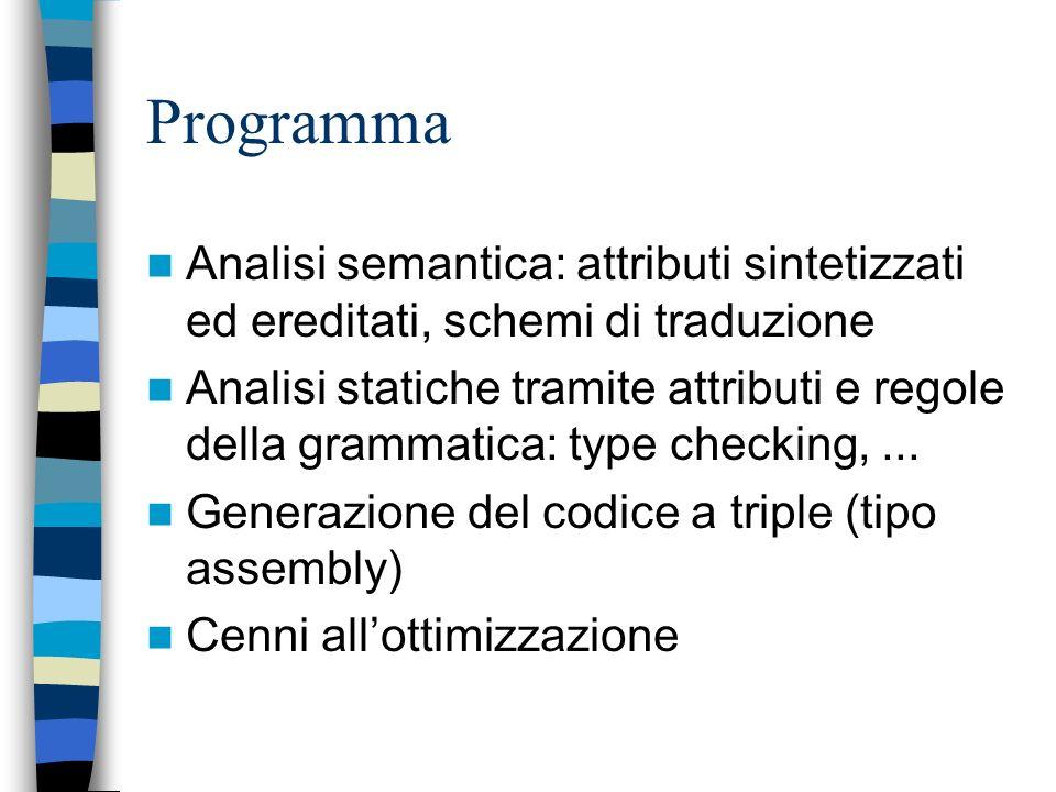Programma Analisi lessicale: riconoscimento di tokens, espressioni regolari, automi, algoritmi Analisi sintattica: grammatiche libere, automi a pila,