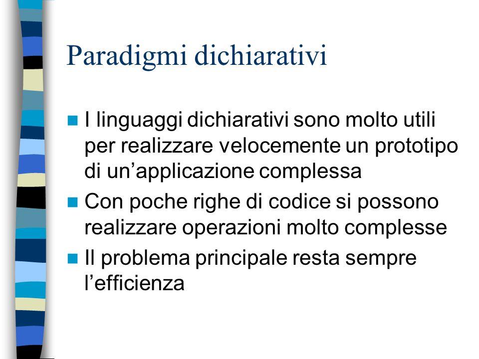 Programmazione logica Anche qui il formalismo è dichiarativo: i programmi sono definizioni, in questo caso di relazioni e non di funzioni Il motore di