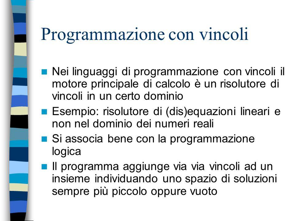 Paradigmi dichiarativi I linguaggi dichiarativi sono molto utili per realizzare velocemente un prototipo di unapplicazione complessa Con poche righe d