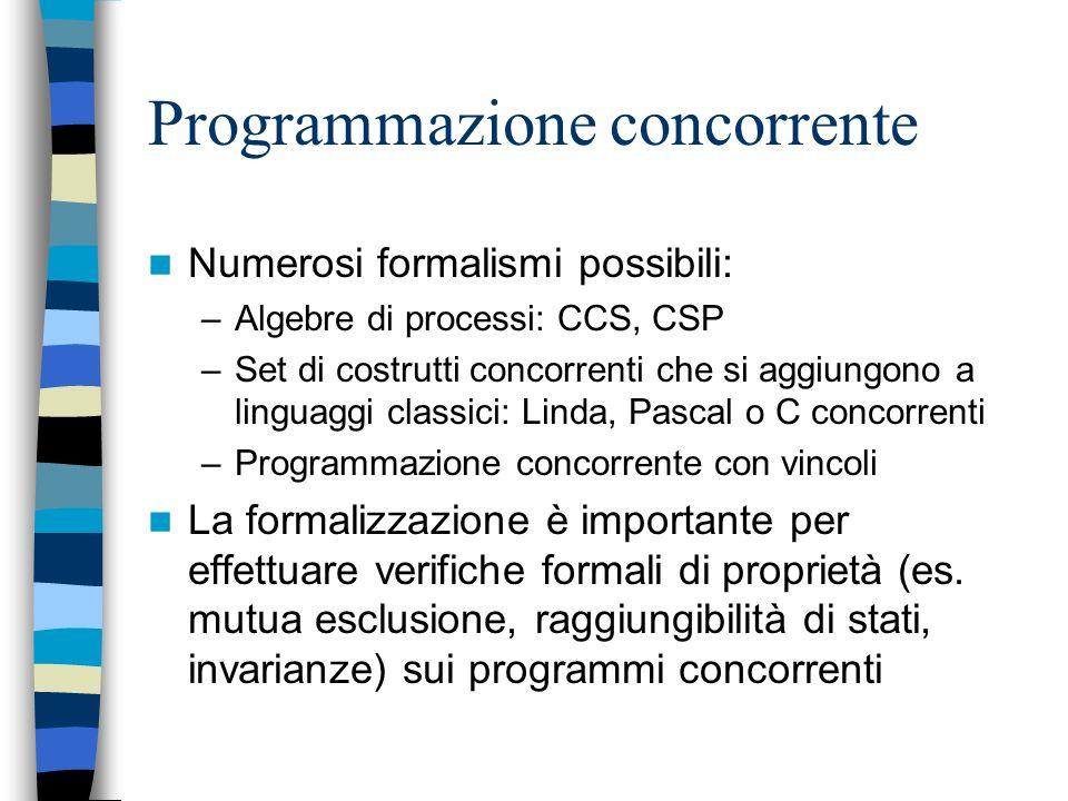 Programmazione concorrente Un programma concorrente consiste di diversi processi che cooperano in un ambiente per raggiungere un risultato comune I pr