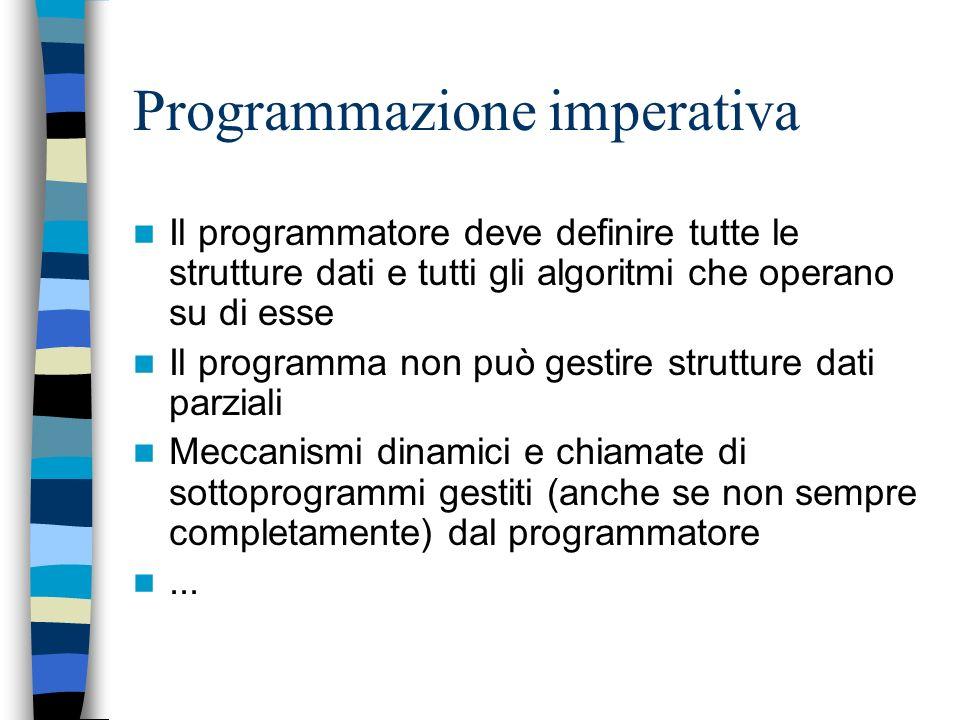 Programmazione imperativa Classico: i programmi sono sequenze di comandi che agiscono sui dati o sullordine di esecuzione delle istruzioni. In genere