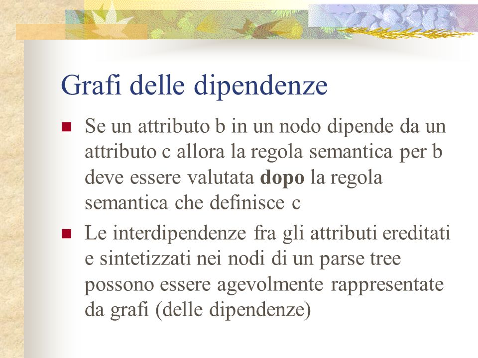 Esempio D T.type = real real L.in = real, id 3 L.in = real,id 2 id 1 Parse tree annotato per real id 1, id 2, id 3