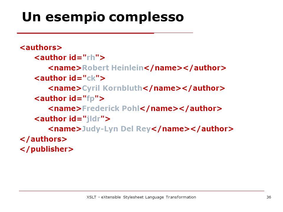 XSLT - eXtensible Stylesheet Language Transformation36 Robert Heinlein Cyril Kornbluth Frederick Pohl Judy-Lyn Del Rey Un esempio complesso