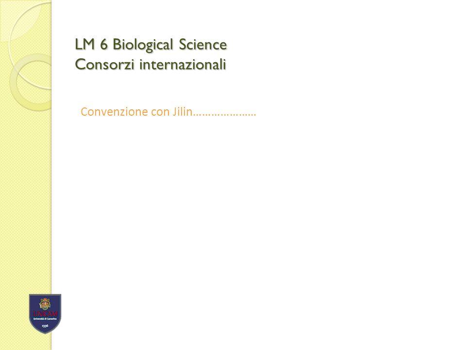 LM 6 Biological Science Consorzi internazionali Convenzione con Jilin…………………