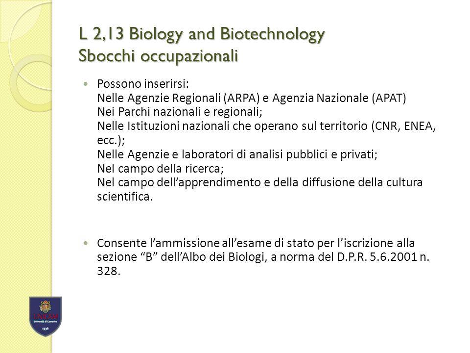 L 2,13 Biology and Biotechnology Consorzi internazionali Convenzione con Jilin (Cina ) Agricultural University.