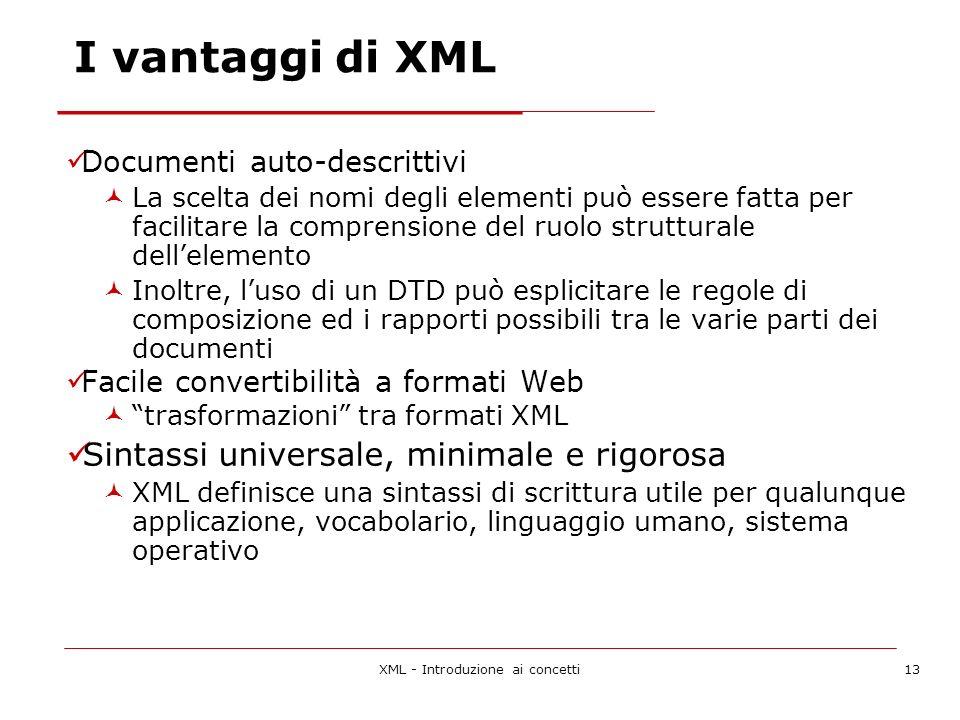 XML - Introduzione ai concetti13 I vantaggi di XML Documenti auto-descrittivi La scelta dei nomi degli elementi può essere fatta per facilitare la comprensione del ruolo strutturale dellelemento Inoltre, luso di un DTD può esplicitare le regole di composizione ed i rapporti possibili tra le varie parti dei documenti Facile convertibilità a formati Web trasformazioni tra formati XML Sintassi universale, minimale e rigorosa XML definisce una sintassi di scrittura utile per qualunque applicazione, vocabolario, linguaggio umano, sistema operativo