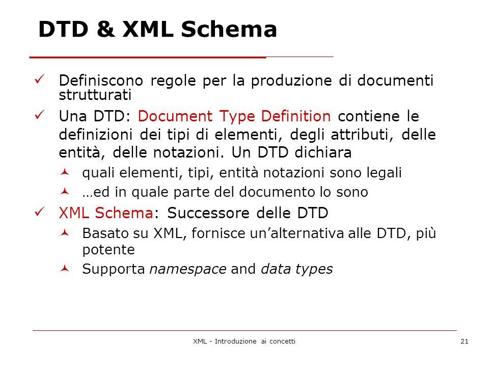 XML - Introduzione ai concetti21 DTD & XML Schema Definiscono regole per la produzione di documenti strutturati Una DTD: Document Type Definition contiene le definizioni dei tipi di elementi, degli attributi, delle entità, delle notazioni.