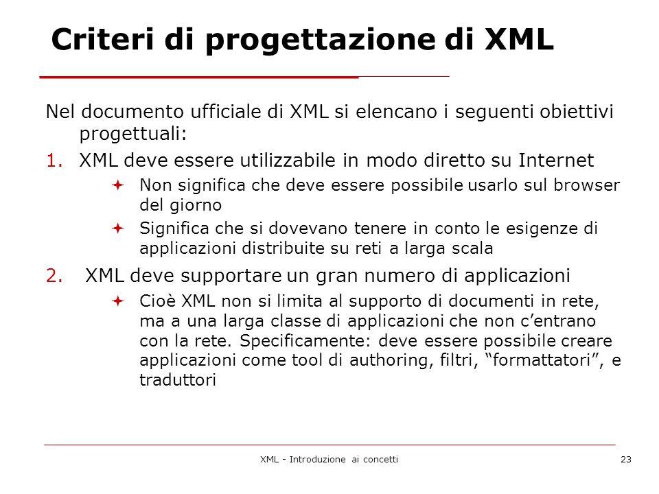 XML - Introduzione ai concetti23 Criteri di progettazione di XML Nel documento ufficiale di XML si elencano i seguenti obiettivi progettuali: 1.XML deve essere utilizzabile in modo diretto su Internet Non significa che deve essere possibile usarlo sul browser del giorno Significa che si dovevano tenere in conto le esigenze di applicazioni distribuite su reti a larga scala 2.
