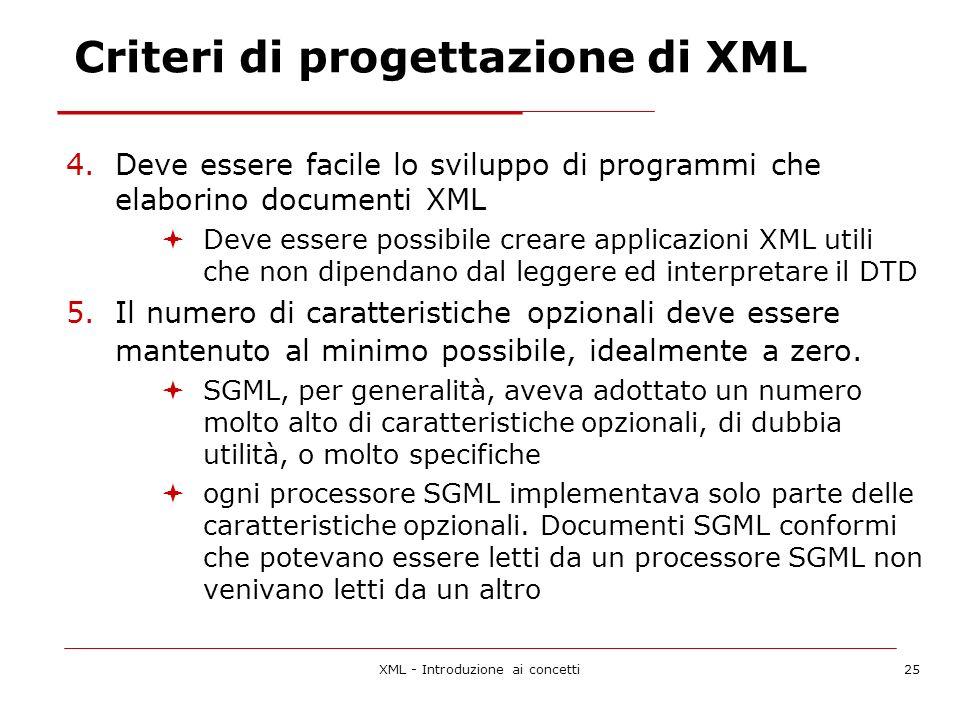 XML - Introduzione ai concetti25 Criteri di progettazione di XML 4.Deve essere facile lo sviluppo di programmi che elaborino documenti XML Deve essere possibile creare applicazioni XML utili che non dipendano dal leggere ed interpretare il DTD 5.Il numero di caratteristiche opzionali deve essere mantenuto al minimo possibile, idealmente a zero.