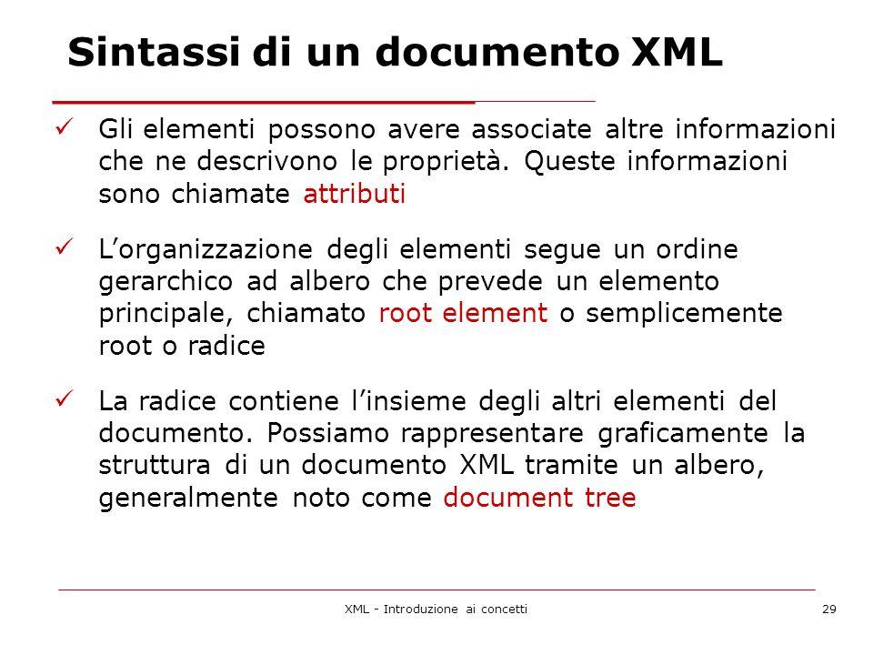 XML - Introduzione ai concetti29 Gli elementi possono avere associate altre informazioni che ne descrivono le proprietà.