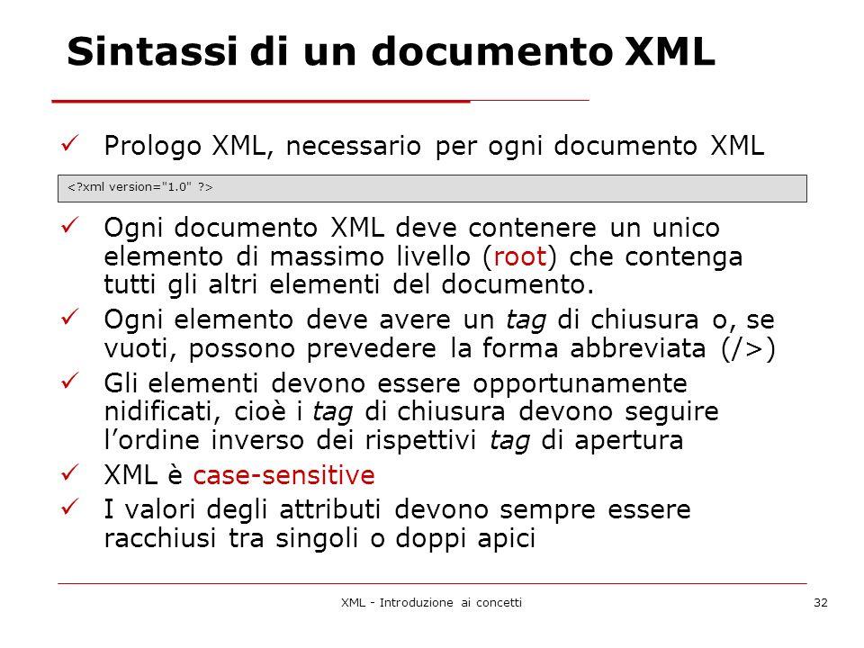 XML - Introduzione ai concetti32 Sintassi di un documento XML Prologo XML, necessario per ogni documento XML Ogni documento XML deve contenere un unico elemento di massimo livello (root) che contenga tutti gli altri elementi del documento.
