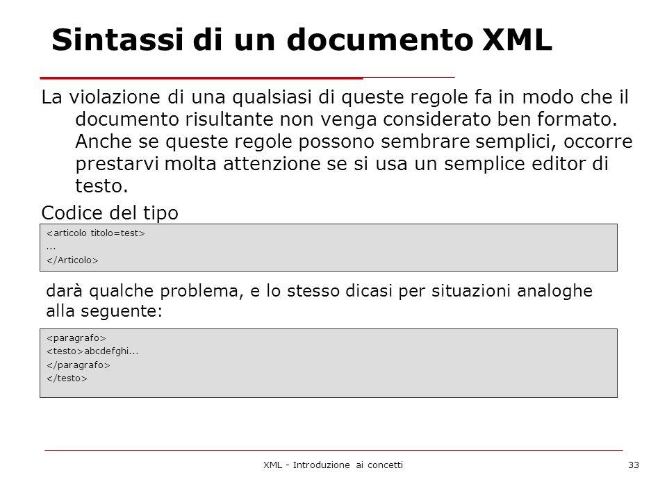 XML - Introduzione ai concetti33 La violazione di una qualsiasi di queste regole fa in modo che il documento risultante non venga considerato ben formato.