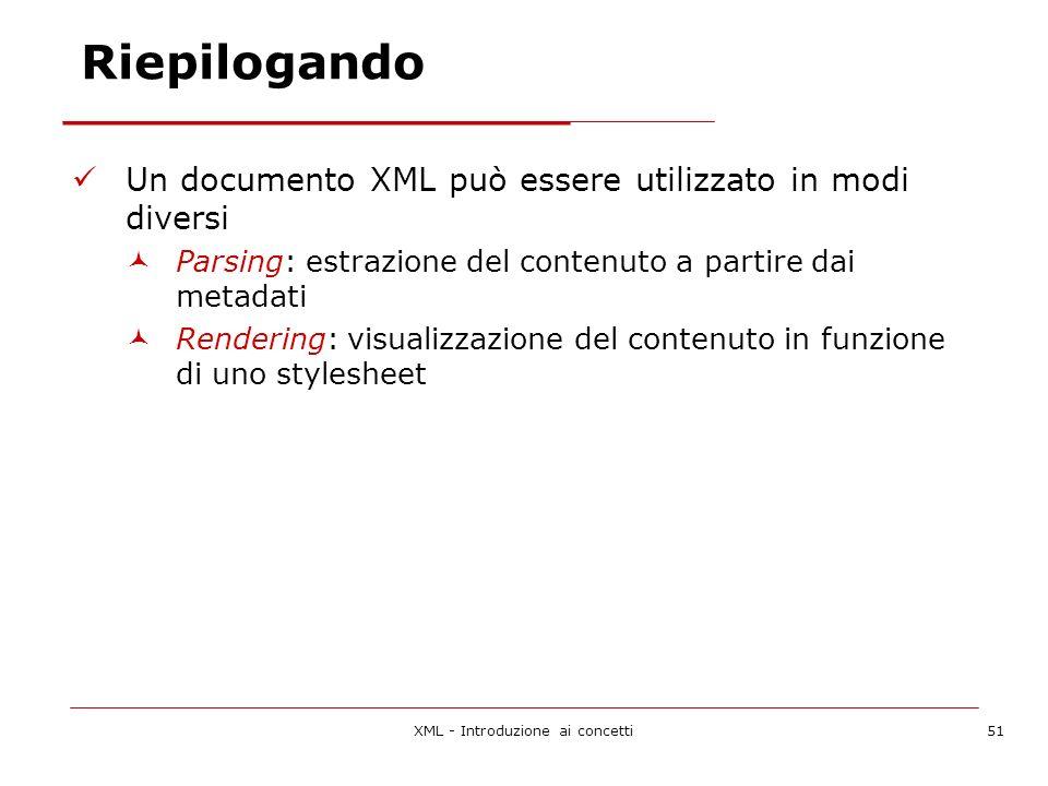 XML - Introduzione ai concetti51 Riepilogando Un documento XML può essere utilizzato in modi diversi Parsing: estrazione del contenuto a partire dai metadati Rendering: visualizzazione del contenuto in funzione di uno stylesheet