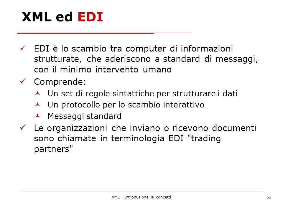 XML - Introduzione ai concetti53 XML ed EDI EDI è lo scambio tra computer di informazioni strutturate, che aderiscono a standard di messaggi, con il minimo intervento umano Comprende: Un set di regole sintattiche per strutturare i dati Un protocollo per lo scambio interattivo Messaggi standard Le organizzazioni che inviano o ricevono documenti sono chiamate in terminologia EDI trading partners