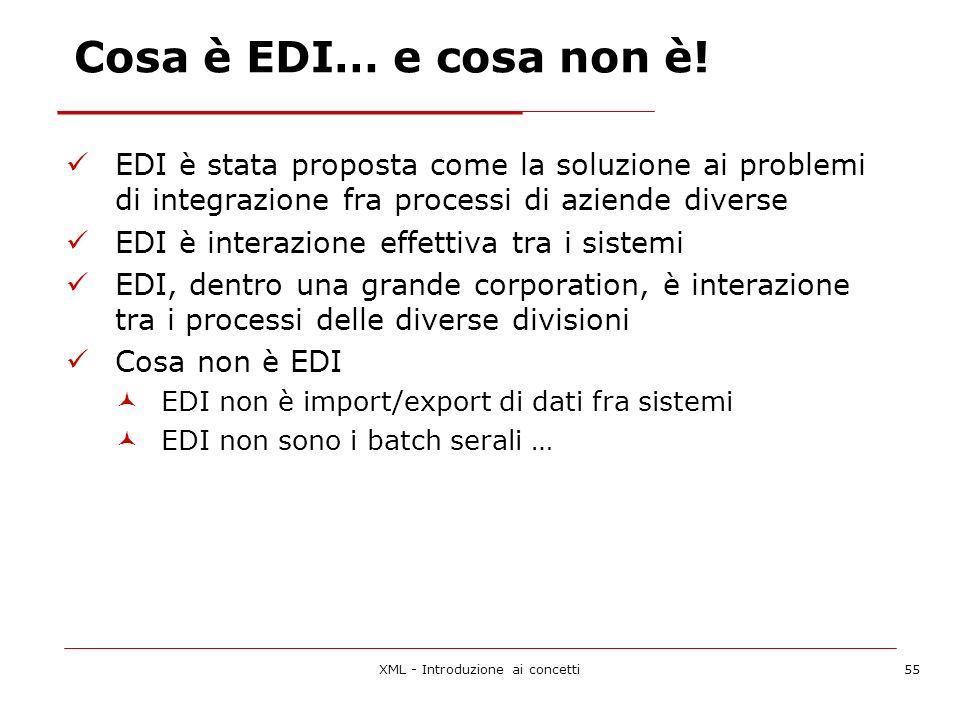 XML - Introduzione ai concetti55 Cosa è EDI… e cosa non è.