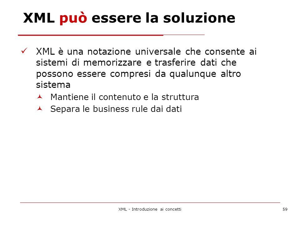 XML - Introduzione ai concetti59 XML può essere la soluzione XML è una notazione universale che consente ai sistemi di memorizzare e trasferire dati che possono essere compresi da qualunque altro sistema Mantiene il contenuto e la struttura Separa le business rule dai dati