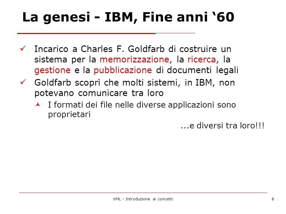 XML - Introduzione ai concetti8 La genesi - IBM, Fine anni 60 Incarico a Charles F.