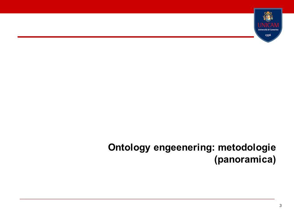 4 Ontology engeenering Fa riferimento allinsieme di attività che riguardano il processo di costruzione dellontologia, il ciclo di vita dellontologia, il metodo e la metodologia per la costruzione dellontologia ed i tool ed i linguaggi che lo supportano